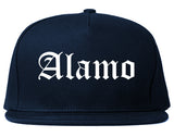 Alamo Texas TX Old English Mens Snapback Hat Navy Blue