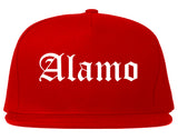 Alamo Texas TX Old English Mens Snapback Hat Red