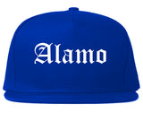 Alamo Texas TX Old English Mens Snapback Hat Royal Blue