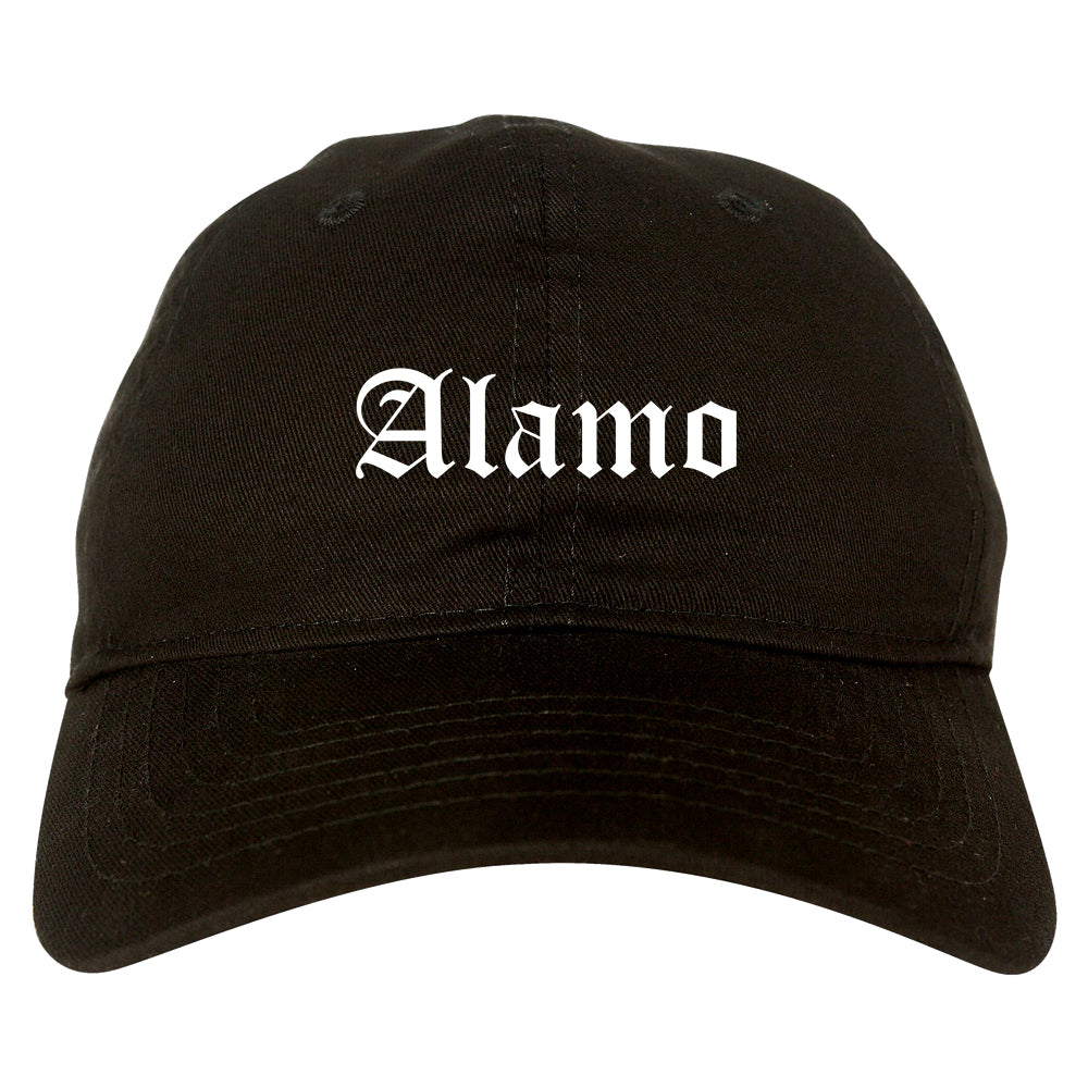 Alamo Texas TX Old English Mens Dad Hat Baseball Cap Black