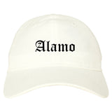 Alamo Texas TX Old English Mens Dad Hat Baseball Cap White