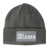Alamo Texas TX Old English Mens Knit Beanie Hat Cap Grey