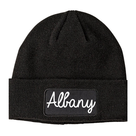 Albany California CA Script Mens Knit Beanie Hat Cap Black