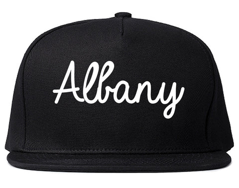 Albany California CA Script Mens Snapback Hat Black