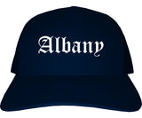 Albany Georgia GA Old English Mens Trucker Hat Cap Navy Blue