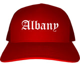Albany Georgia GA Old English Mens Trucker Hat Cap Red