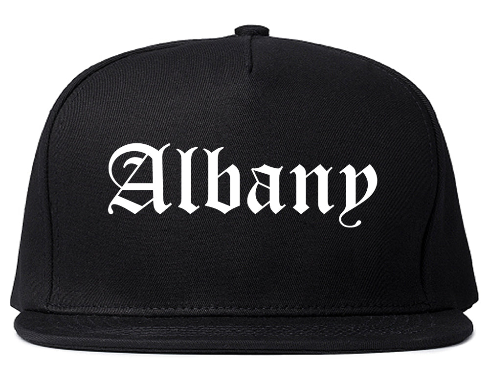 Albany New York NY Old English Mens Snapback Hat Black