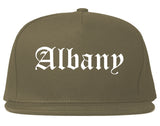 Albany New York NY Old English Mens Snapback Hat Grey