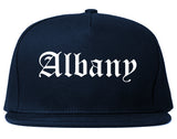 Albany New York NY Old English Mens Snapback Hat Navy Blue