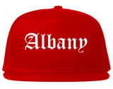 Albany New York NY Old English Mens Snapback Hat Red