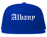 Albany New York NY Old English Mens Snapback Hat Royal Blue