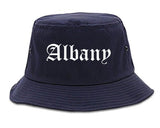 Albany New York NY Old English Mens Bucket Hat Navy Blue