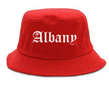 Albany New York NY Old English Mens Bucket Hat Red