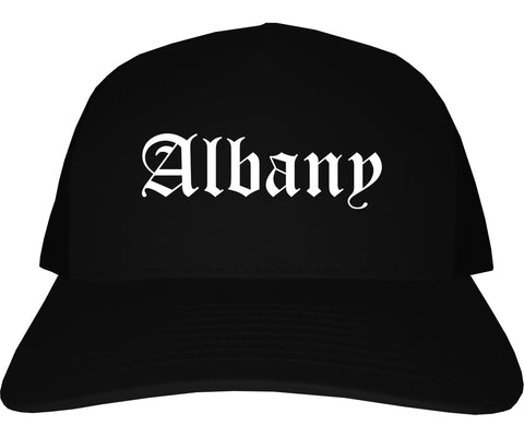 Albany New York NY Old English Mens Trucker Hat Cap Black