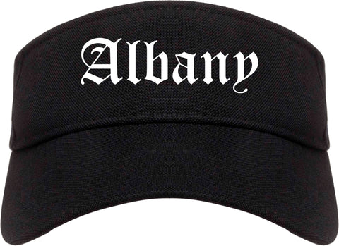 Albany New York NY Old English Mens Visor Cap Hat Black