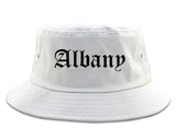Albany New York NY Old English Mens Bucket Hat White