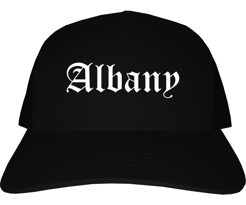 Albany Oregon OR Old English Mens Trucker Hat Cap Black
