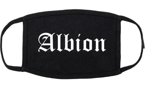 Albion Michigan MI Old English Cotton Face Mask Black