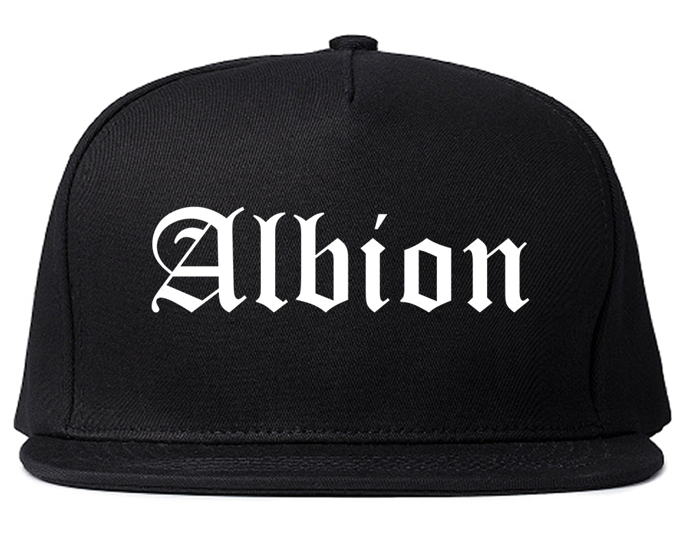 Albion Michigan MI Old English Mens Snapback Hat Black
