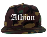 Albion Michigan MI Old English Mens Snapback Hat Army Camo