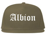 Albion Michigan MI Old English Mens Snapback Hat Grey