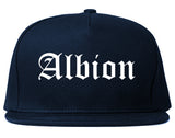 Albion Michigan MI Old English Mens Snapback Hat Navy Blue