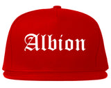 Albion Michigan MI Old English Mens Snapback Hat Red