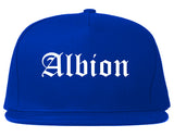 Albion Michigan MI Old English Mens Snapback Hat Royal Blue