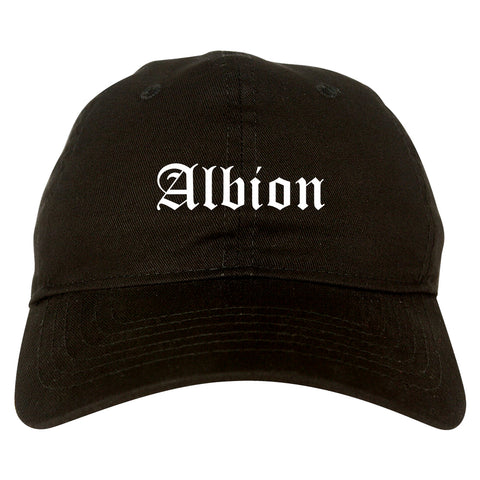 Albion Michigan MI Old English Mens Dad Hat Baseball Cap Black