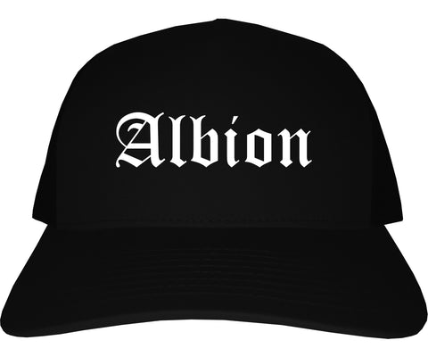 Albion Michigan MI Old English Mens Trucker Hat Cap Black