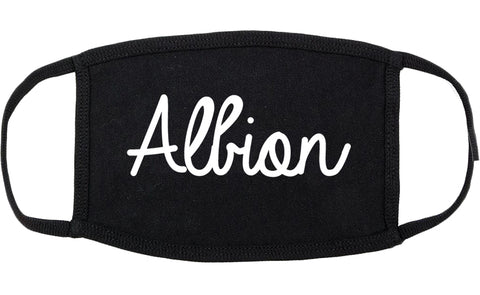 Albion Michigan MI Script Cotton Face Mask Black