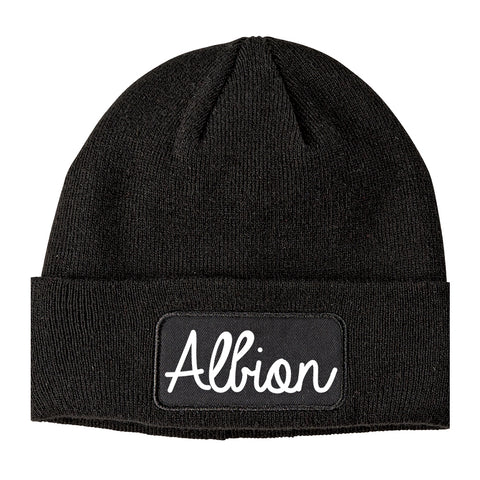 Albion Michigan MI Script Mens Knit Beanie Hat Cap Black