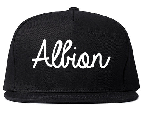 Albion Michigan MI Script Mens Snapback Hat Black