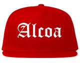 Alcoa Tennessee TN Old English Mens Snapback Hat Red
