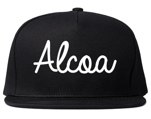 Alcoa Tennessee TN Script Mens Snapback Hat Black