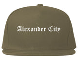 Alexander City Alabama AL Old English Mens Snapback Hat Grey
