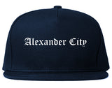 Alexander City Alabama AL Old English Mens Snapback Hat Navy Blue
