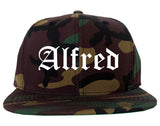 Alfred New York NY Old English Mens Snapback Hat Army Camo