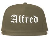 Alfred New York NY Old English Mens Snapback Hat Grey
