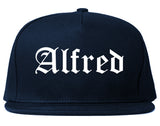 Alfred New York NY Old English Mens Snapback Hat Navy Blue