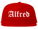 Alfred New York NY Old English Mens Snapback Hat Red