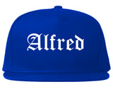 Alfred New York NY Old English Mens Snapback Hat Royal Blue
