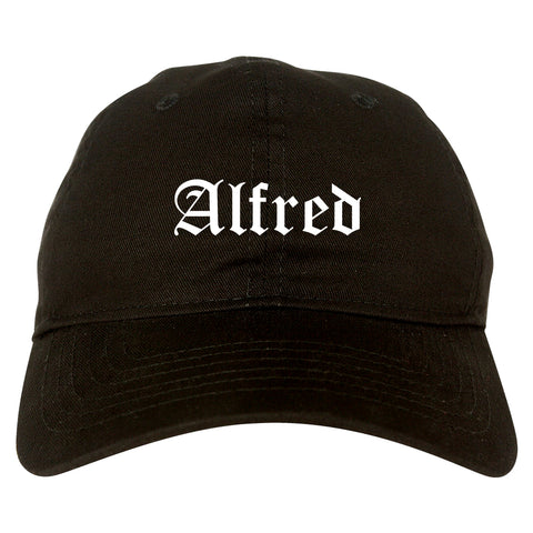 Alfred New York NY Old English Mens Dad Hat Baseball Cap Black