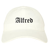 Alfred New York NY Old English Mens Dad Hat Baseball Cap White