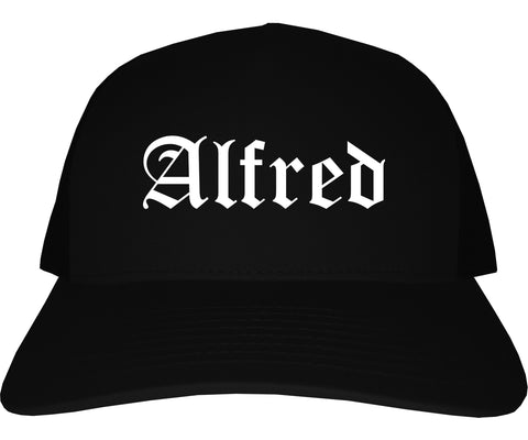 Alfred New York NY Old English Mens Trucker Hat Cap Black