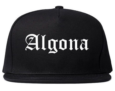 Algona Iowa IA Old English Mens Snapback Hat Black