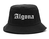Algona Iowa IA Old English Mens Bucket Hat Black