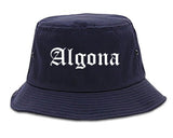 Algona Iowa IA Old English Mens Bucket Hat Navy Blue