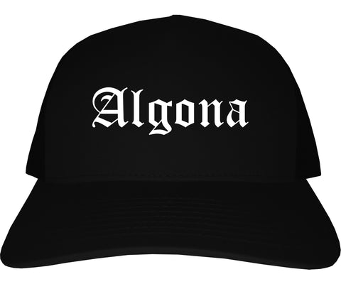 Algona Iowa IA Old English Mens Trucker Hat Cap Black