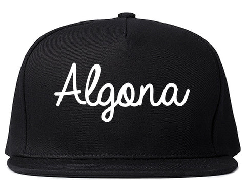 Algona Iowa IA Script Mens Snapback Hat Black